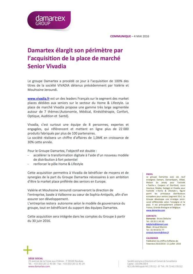 Communiqué de Presse Damartex Vivadia